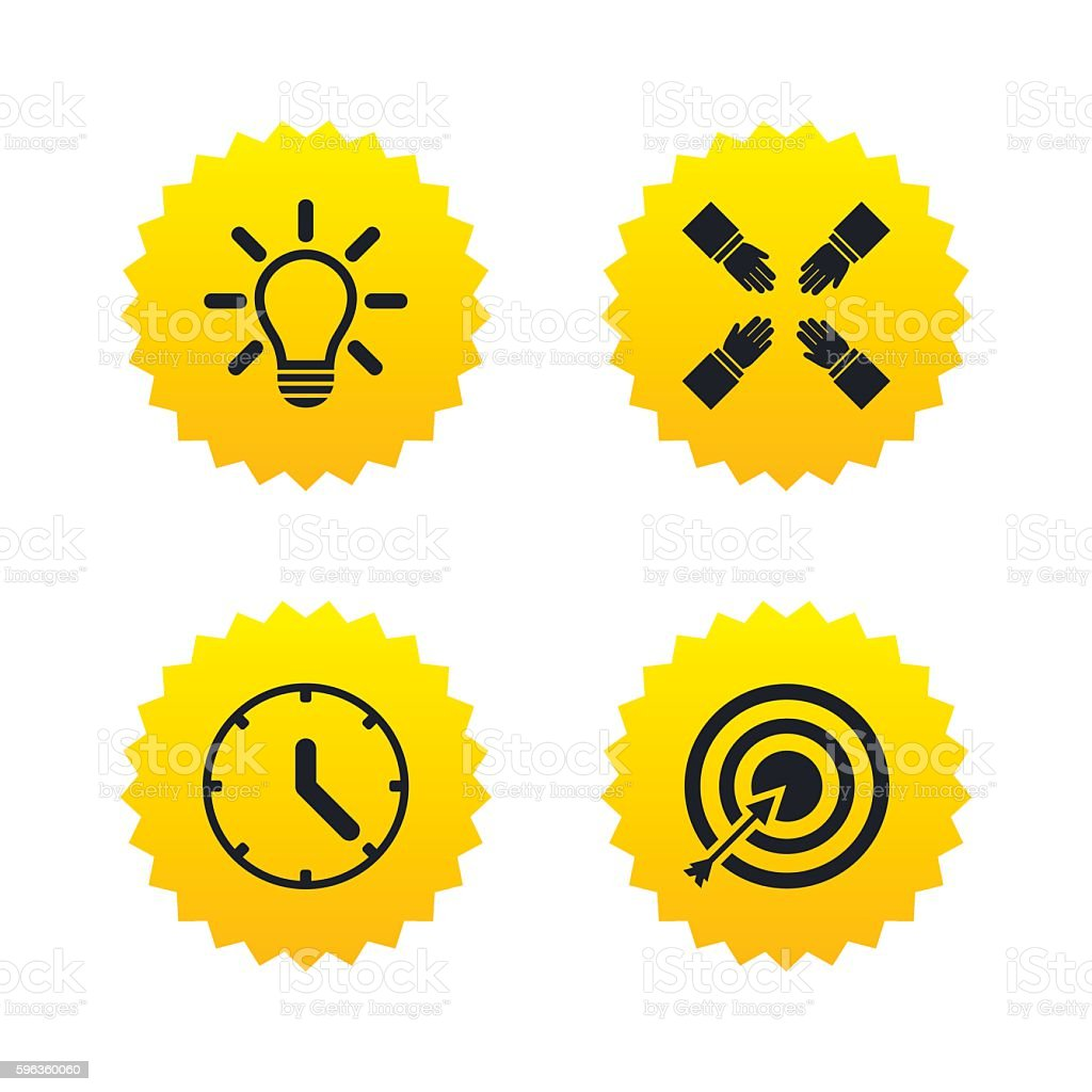 Lamp idea and clock time. Target aim. royalty-free lamp idea and clock time target aim stock vector art & more images of aiming