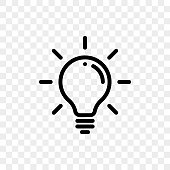 Lamp light bulb icon on transparent background. Vector lightbulb lamp symbol for idea think
