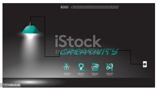 istock Lamp light representing Idea and Concept - text Creativity  -  infographic template. 1224084539