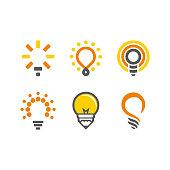 logo set: lamp, bulb, idea, concept, creative