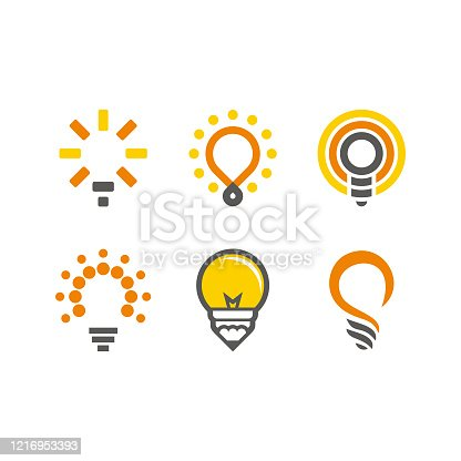 logo set: lamp, bulb, idea, concept, creative