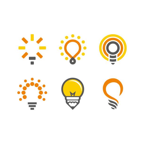 bildbanksillustrationer, clip art samt tecknat material och ikoner med lamplogotyp inställd - idé