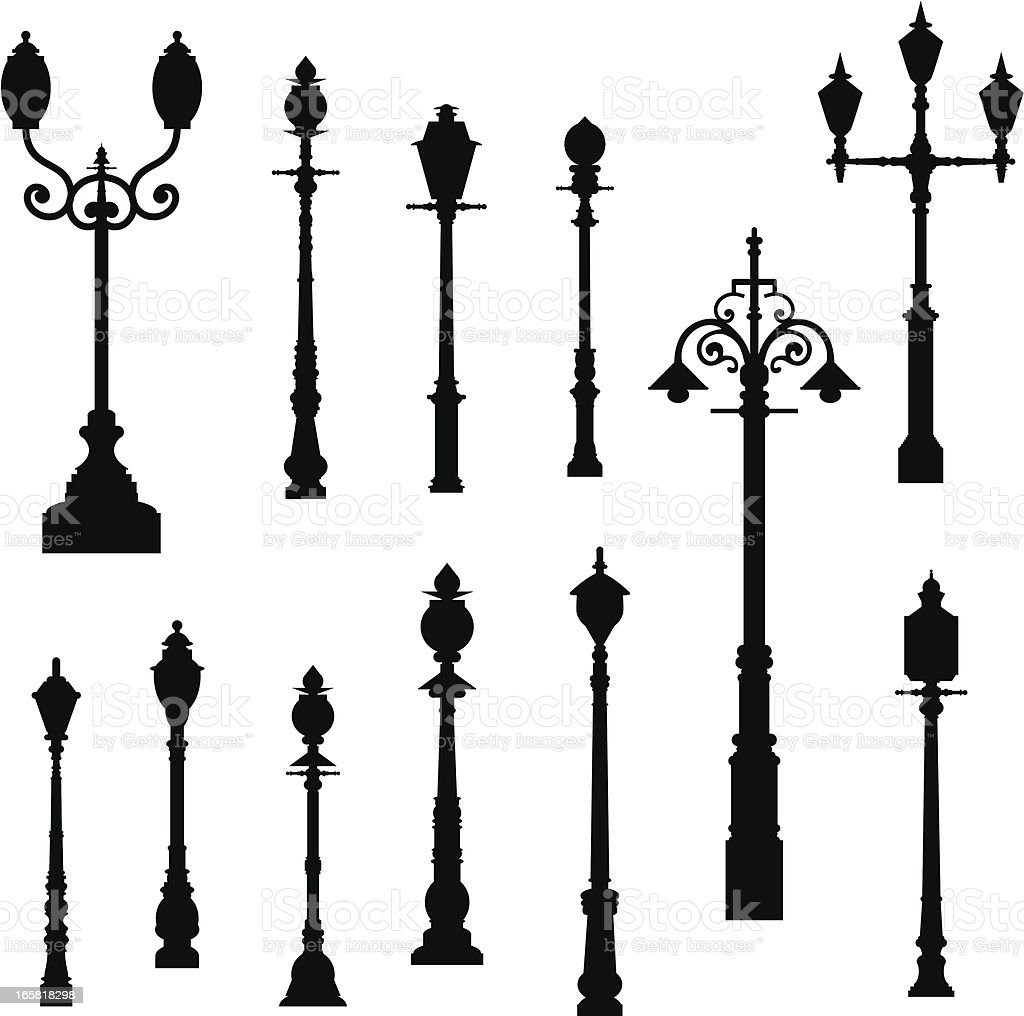 Lamp Post royalty-free lamp post stock vector art & more images of built structure