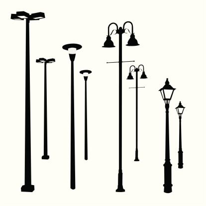 Lamp Posts Vector Silhouette