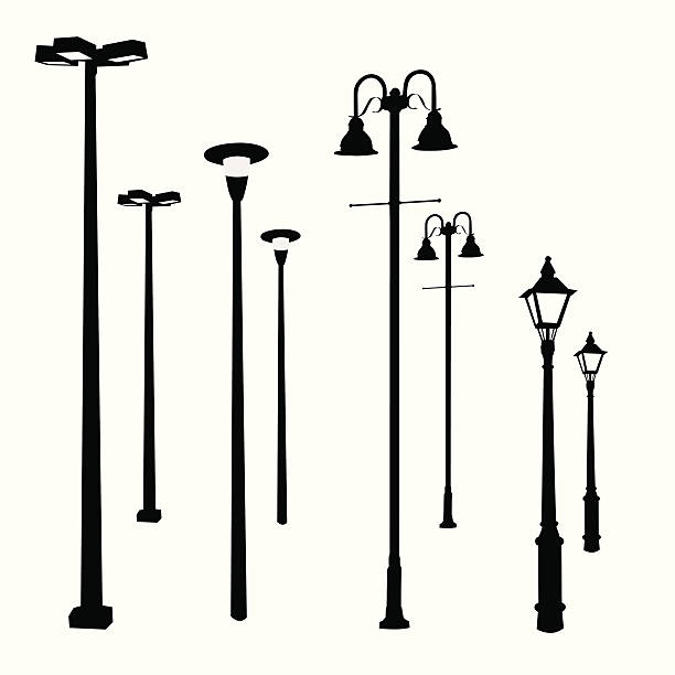 stockillustraties, clipart, cartoons en iconen met lamp posts vector silhouette - straatlamp