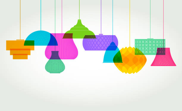 Lamp Shade designs Colourful overlapping silhouettes of Lamp or light Shades interior designer stock illustrations