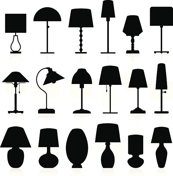 lampa sylwetki zestaw - lampa elektryczna stock illustrations