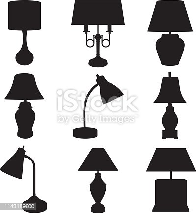 Vector illustration of of a set of nine lamp silhouettes.