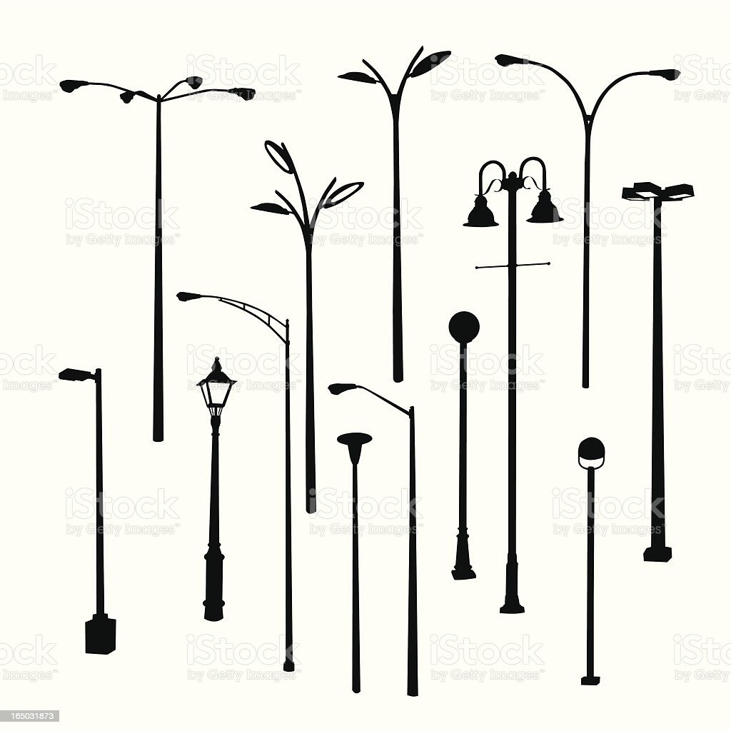 Lamposts Thirteen Vector Silhouette vector art illustration