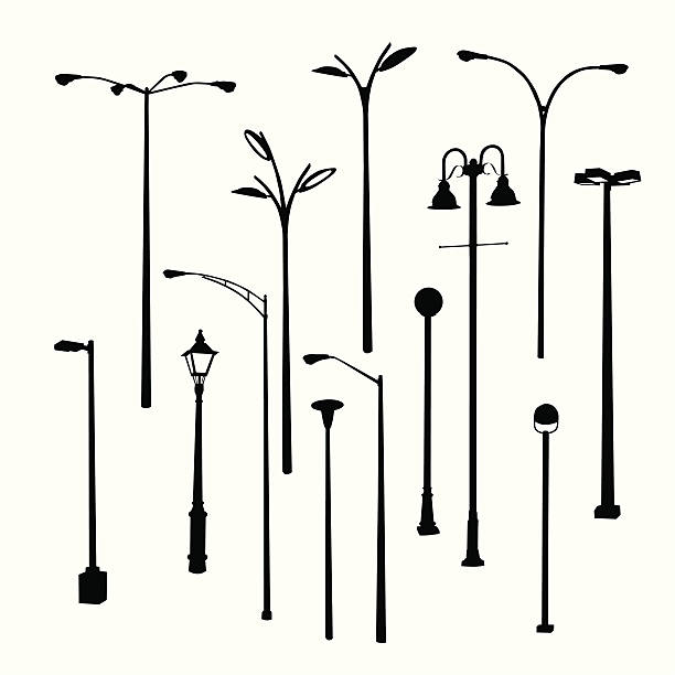 stockillustraties, clipart, cartoons en iconen met lamposts thirteen vector silhouette - straatlamp