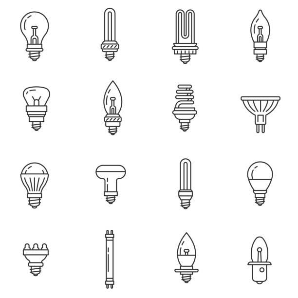 ilustrações, clipart, desenhos animados e ícones de conjunto de ícones de lâmpadas e holofotes. curso editável - led