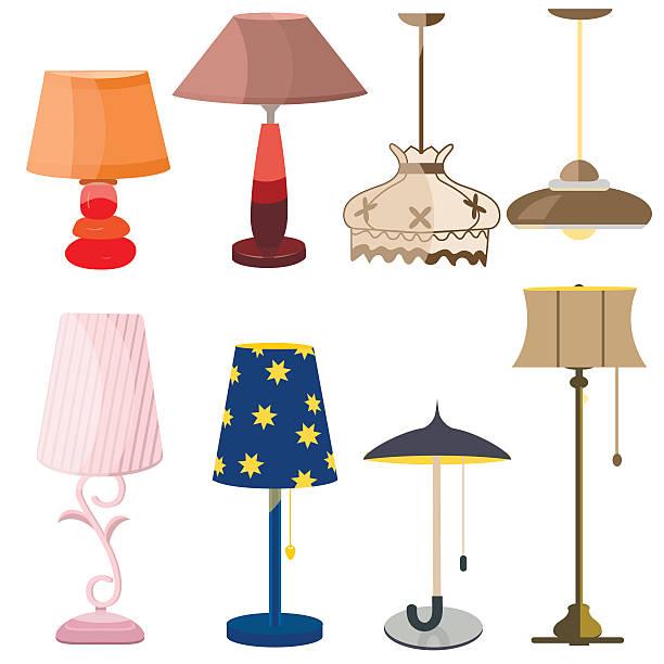 lamps furniture set light design electric vector - elektrik lambası stock illustrations