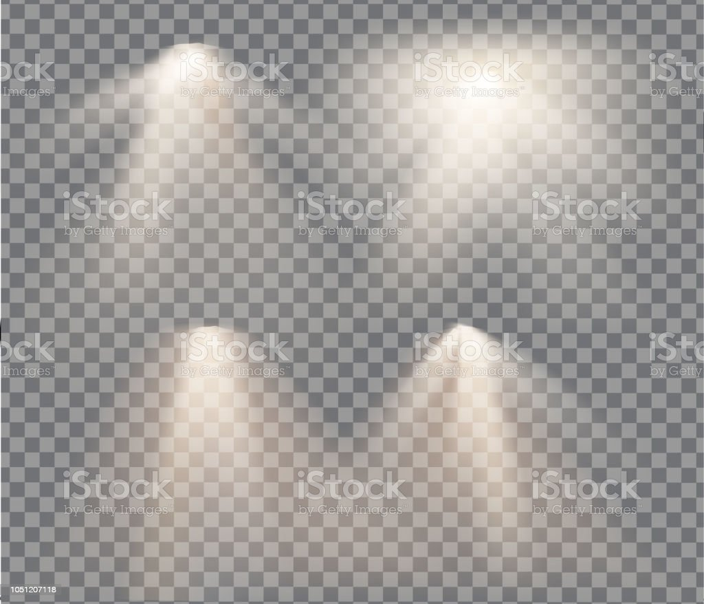 lamps set with warm light on a transparent background