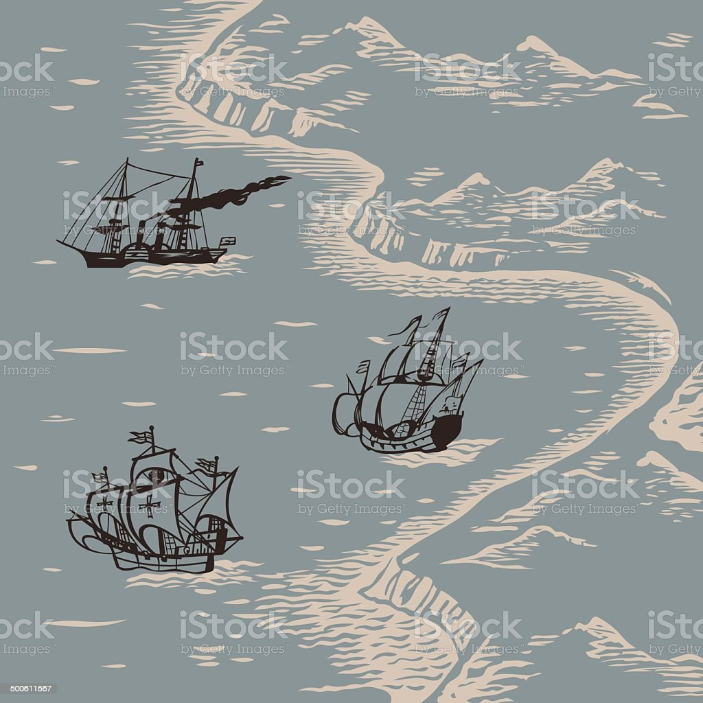 Land and sea vector art illustration