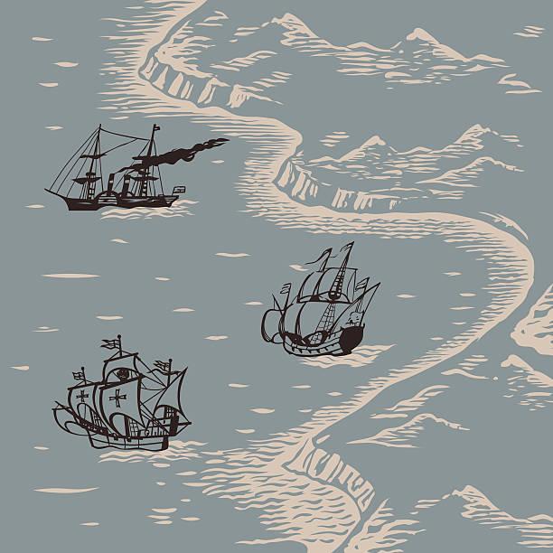 stockillustraties, clipart, cartoons en iconen met land and sea - new world