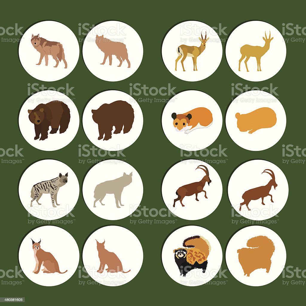 Land Animals Set vector art illustration