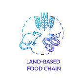 Land based food chain concept icon. Energy producer and consumers. plant, herbivores and carnivores. Ecosystem idea thin line illustration. Vector isolated outline RGB color drawing