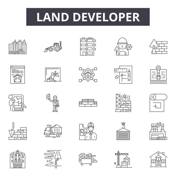 land entwicklerlinie icons, zeichen, vektor-set, lineares konzept, umrissillustration - aerial overview soil stock-grafiken, -clipart, -cartoons und -symbole