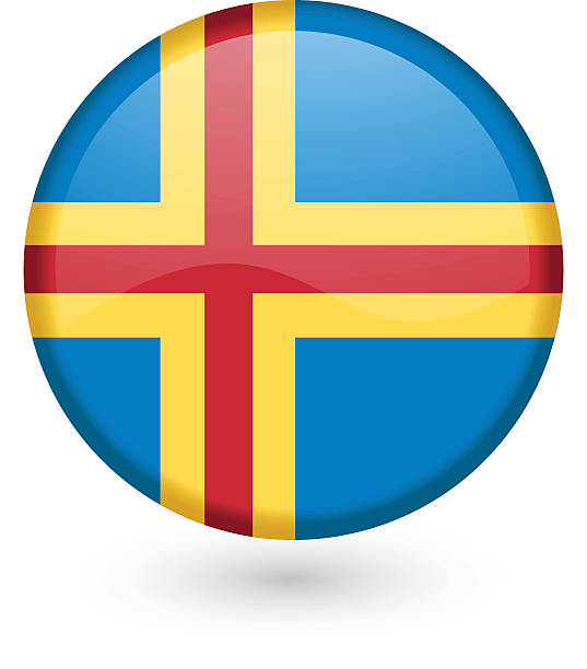Åland flag button vector art illustration