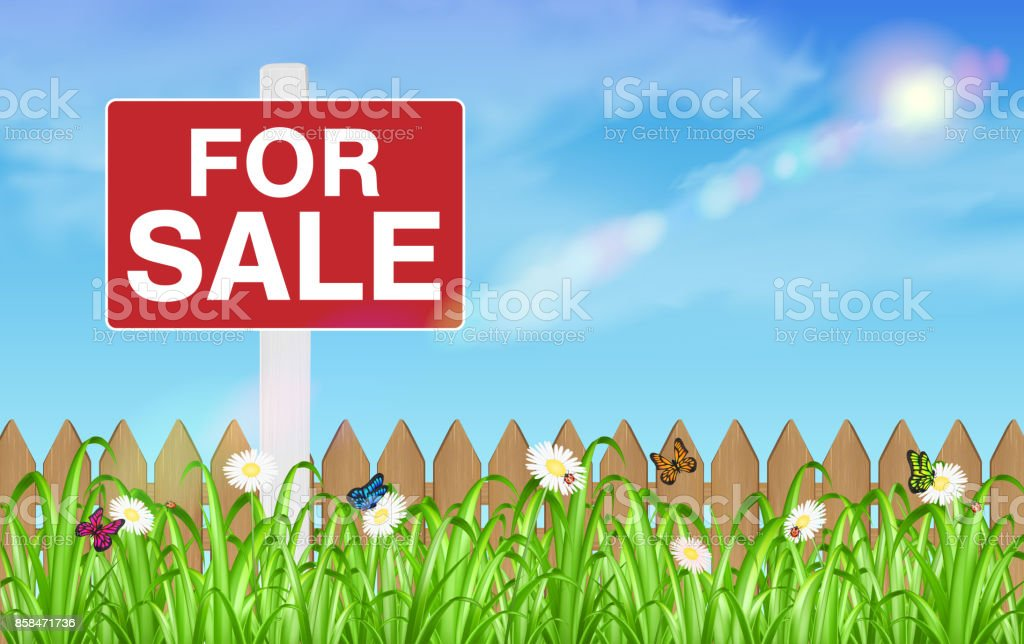 land for sale sign board with wooden fence grass vector art illustration