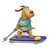Cute doggy playing land paddling street, a new outdoor fun.