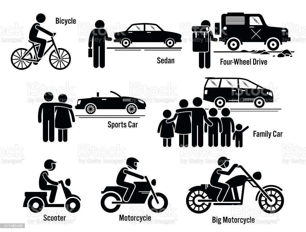 Land Personal Transport Transportation Vehicles Set vector art illustration