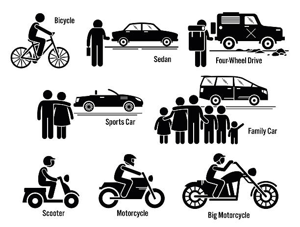 land verkehr der verkehr fahrzeuge satz persönlichen - fahrzeug fahren stock-grafiken, -clipart, -cartoons und -symbole