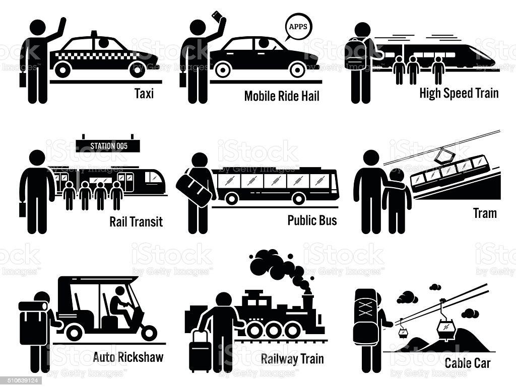 Land Public Transportation Vehicles and People Set vector art illustration