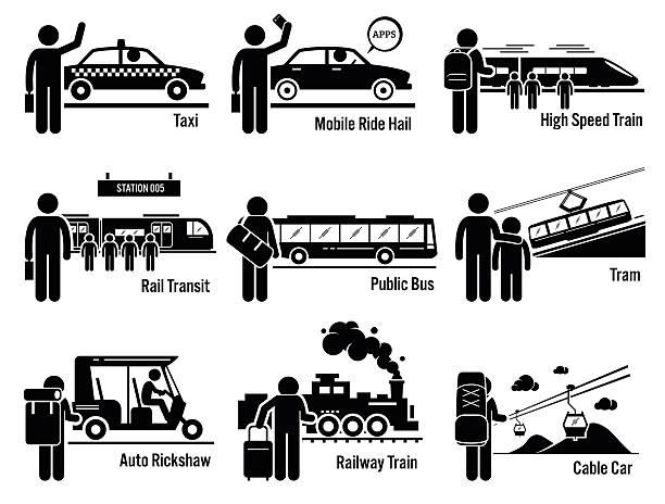 öffentliche verkehrsmittel fahrzeuge und menschen satz - hauptverkehrszeit stock-grafiken, -clipart, -cartoons und -symbole