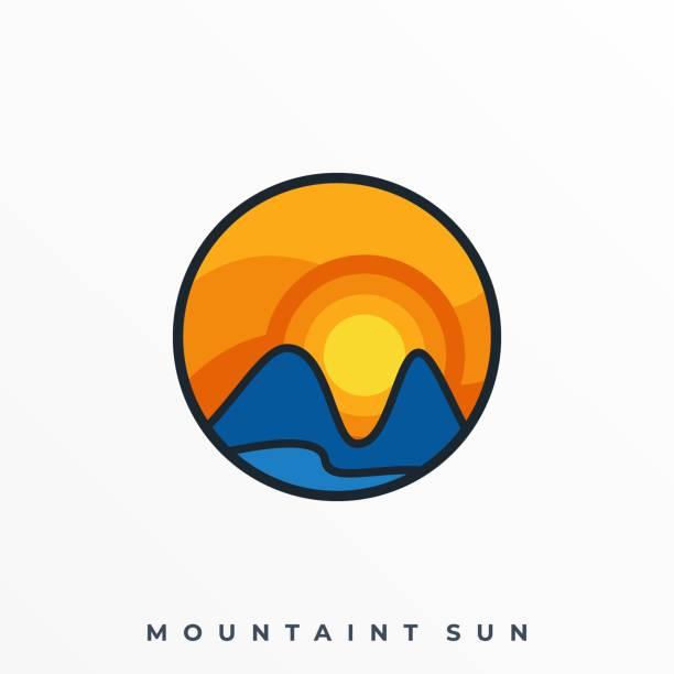 ilustraciones, imágenes clip art, dibujos animados e iconos de stock de land scape man y sunset illustration vector template - mountain top