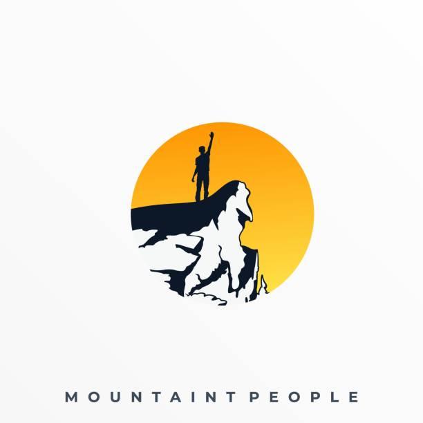 토지 스케이프 남자 와 일몰 그림 벡터 템플릿 - mountain top stock illustrations