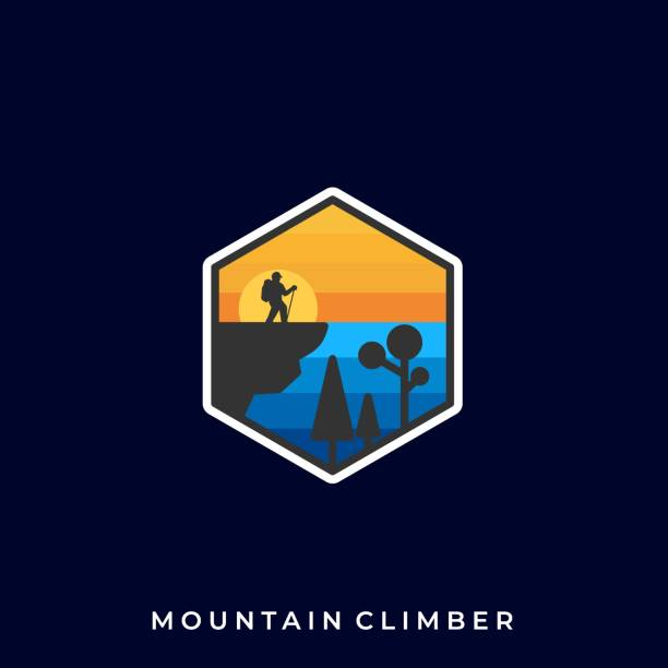랜드 스케이프 일몰 일러스트 벡터 템플릿 - mountain top stock illustrations