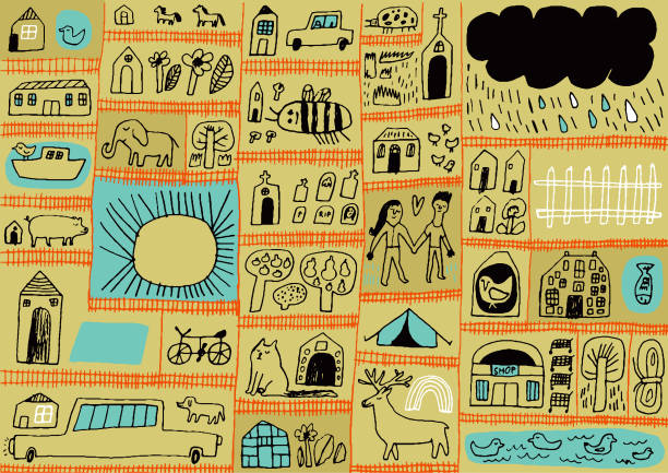 land durch zäune getrennt - entenhaus stock-grafiken, -clipart, -cartoons und -symbole