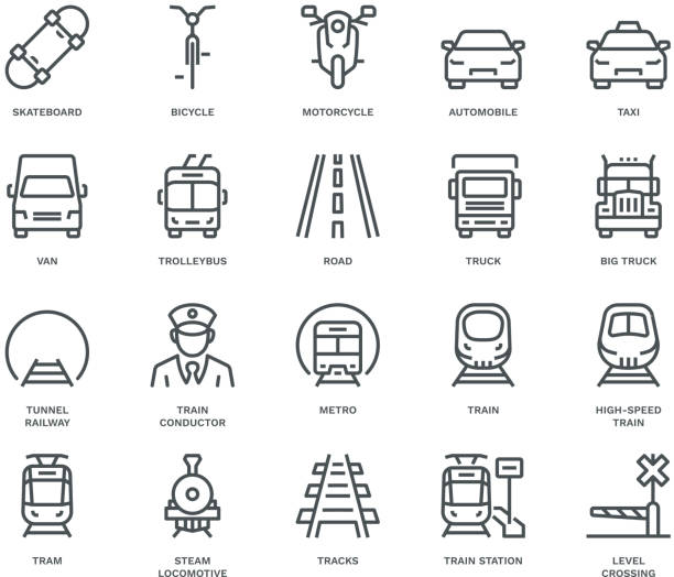 land transport icons, oncoming/front view,  monoline concept - widok od przodu stock illustrations