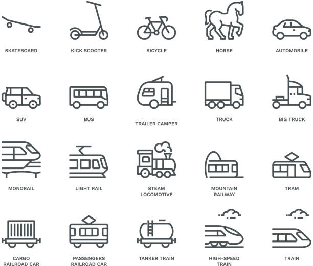Land Transport Icons-side view,  Monoline concept The icons were created on a 48x48 pixel aligned, perfect grid providing a clean and crisp appearance. Adjustable stroke weight. high speed train stock illustrations