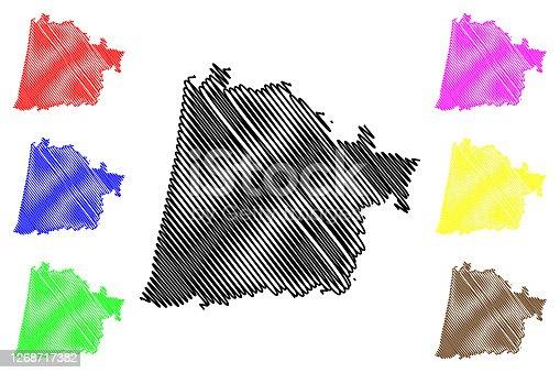 istock Landes Department (France, French Republic, Nouvelle-Aquitaine region) map vector illustration, scribble sketch Lanas map 1268717382