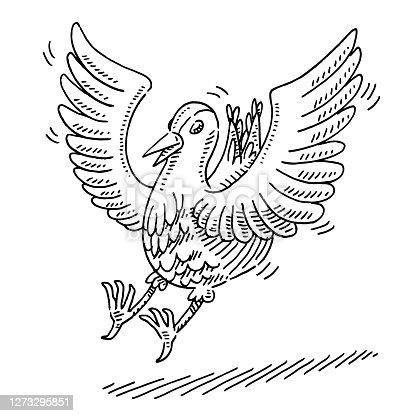 istock Landing Bird Drawing 1273295851