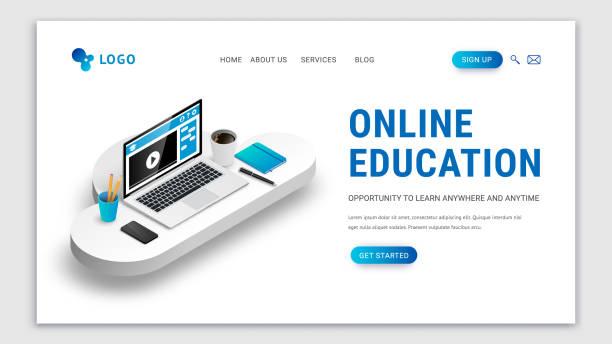 ilustrações de stock, clip art, desenhos animados e ícones de landing e-learning concept white - webinar