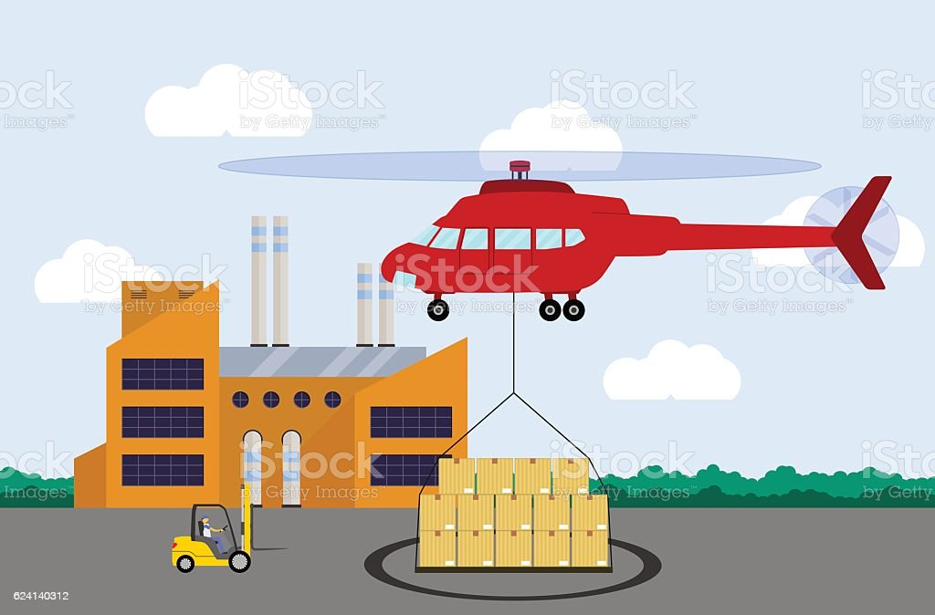 Landing Helicopter With Cargo Air Delivery Concept Stock