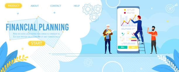 Landing Page Advertise App for Financial Planning Landing Page Advertise Financial Planning Mobile App. Cartoon Business Team Use Digital Device and Application for Finance Data Analysis. Increase Corporate Result. Vector Flat Illustration financial planning stock illustrations