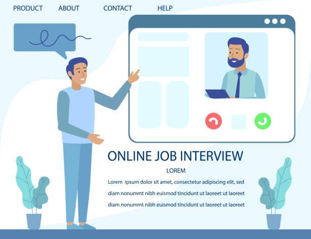ilustrações de stock, clip art, desenhos animados e ícones de landing page advertising online job interview - job interview