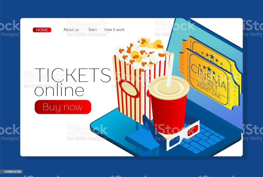 landing page buying tickets online online cinema laptop with movie