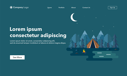 Landing page concept. Vector illustration of beautiful forest scene. Night landscape in flat style. Sunny day. Background. Tent,campfire,mountains,forest and water. Camping, summer camp,hiking,tourism