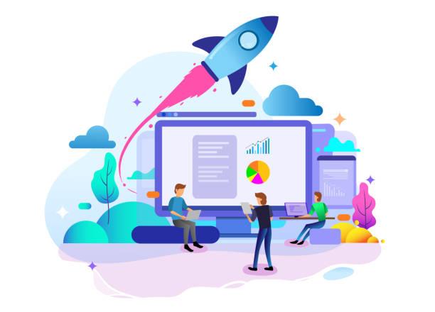 stockillustraties, clipart, cartoons en iconen met landing page design concept van startup business, business strategy, analytics en brainstormen. - raket ruimteschip