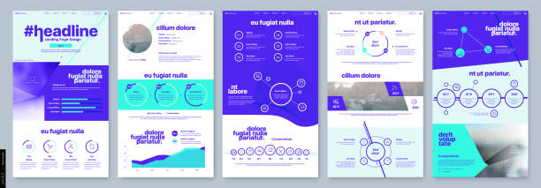 landing page design from website. template vector business interface. landing web page ui ux design. - strona startowa stock illustrations