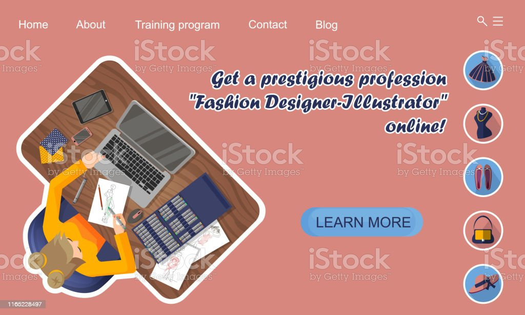 Landing Page Design Online Education Training Profession Fashion Designerillustrator Online Stock Illustration Download Image Now Istock