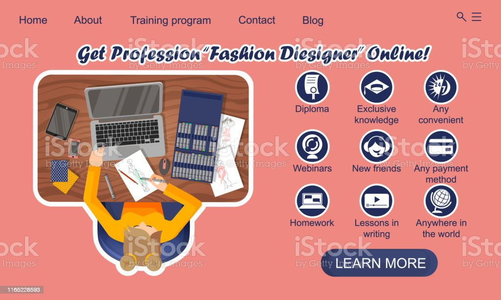 Landing Page Design Online Education Training Profession Fashion Designer Online Stock Illustration Download Image Now Istock