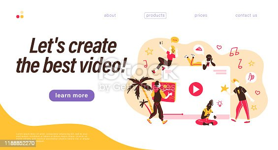 Landing page design template. Creative team generating video content. Making best videos concept. Bloggers, copywriters, designers, photographers, freelancers working. Vector flat  illustration.