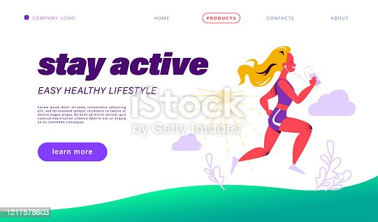 Landing page design template. Healthy lifestyle concept with woman in sport outfit hold smartphone with fitness app interface and earphones running on nature. Vector flat illustration.
