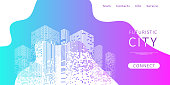 Landing page for a website about futuristic city. Graphic concept for your design